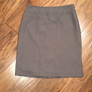Grey pencil skirt with back pleat